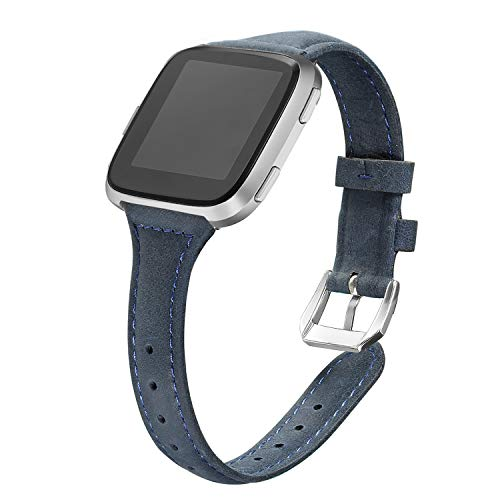 (bayite Bands Compatible Fitbit Versa, Slim Genuine Leather Band Replacement Accessories Strap Versa Women Men (5.3
