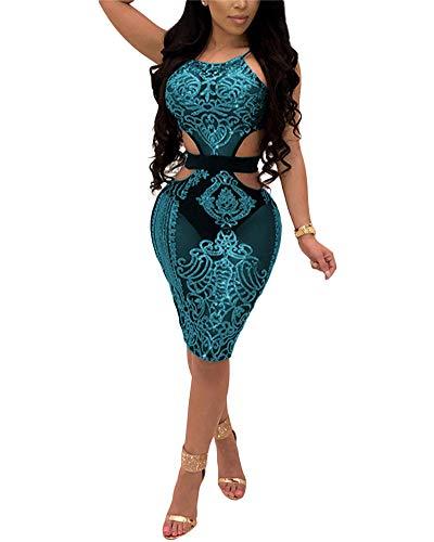 Aro Lora Women's Sequin Halter Neck Hollow Out Mesh Sleeveless Bodycon Mini Dress Small Blue -