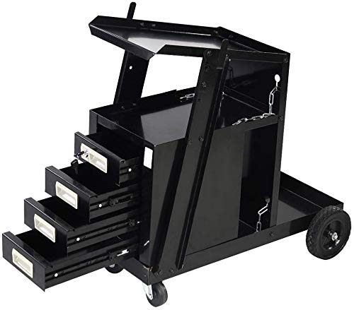 SUNCOO Welding Cart Welder Utility Cart Trolley Plasma Cutter Universal Storage for Tanks MIG, with Rear Wheels Swivel Casters, 4 Drawers, 2 Safety Chains, 100 Lbs Capacity, Powder-Coat Black Finish
