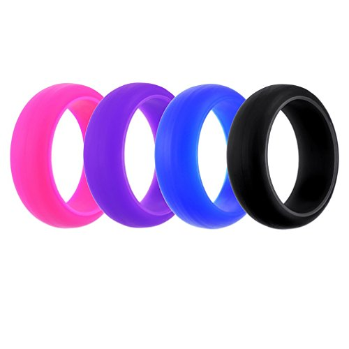 MJartoria Silicone Wedding Ring For Women, Affordable Silicone Rubber Wedding Bands,4 Pack -4 Colors