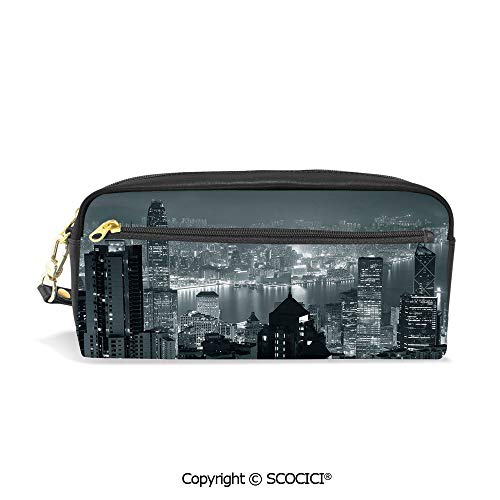 Girls Boys 3D Printed PU Pencil Case Holders Bag with Zipper Aerial Night of View Hong Kong Skyline Famous Modern Urban Town Metropolis Panorama Stationery Makeup Cosmetic Bags Back to School