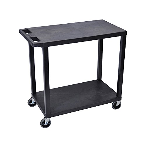 Luxor EC22-B Multipurpose 2 Flat Shelves Storage Utility Cart - Black