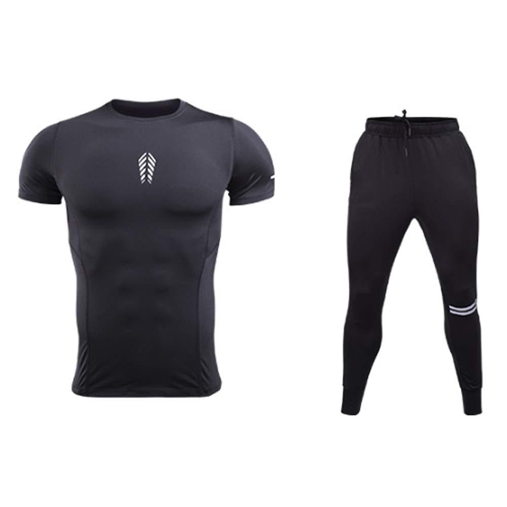 QJKai Sportanzug Herren schnell trocknende elastische Kompressions-T-Shirt atmungsaktive Laufbekleidung Sommer