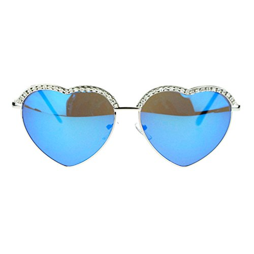 Womens Valentines Rhinestone Half Rim Trim Metal Heart Sunglasses Blue Mirrored