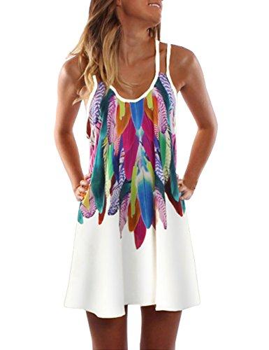 V Strap Ligne P Cravate Retour Une Spaghetti blanc Cou Mini Robes Rglable Bas Femmes Sundress Bouton Casual 5XqgUn
