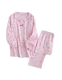 [Pink Bowknot] Cotton Maternity Pajamas Set Nightwear Breastfeeding Pajamas