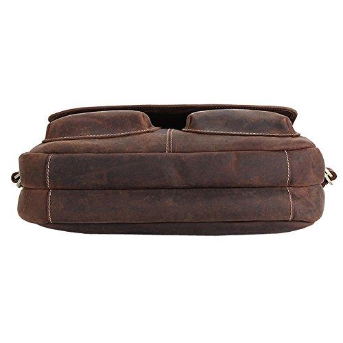 Othilar Herren braun Büffelleder Tasche Laptoptasche Aktentasche Schultertasche für Büro Reise emwlAG2V