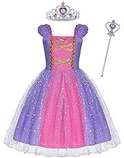 ACWOO Prinsessenjurk voor Meisjes, Rapunzel Kostuum met Kroon en Toverstaf, Meisjesjurk kinderkostuum Feestjurk Luxe Partij Costumeren Pofmouwen Prinses Kostuum voor Party, Carnaval, Cosplay, Halloween(6 Maanden-5 Jaar)
