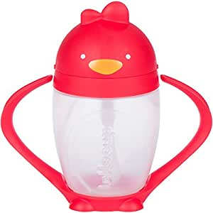 Lollaland Lollacup, Red | 10 oz Straw Sippy Cup with Weighted Straw Made in USA