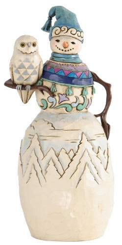 Jim Shore for Enesco Heartwood Creek Snowman with Winter Owl Figurine, -