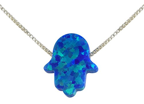 aJudaica Blue Created Opal Hamsa Hand Pendant Necklace with Sterling Silver Chain (Sterling Silver Hamsa Necklace)