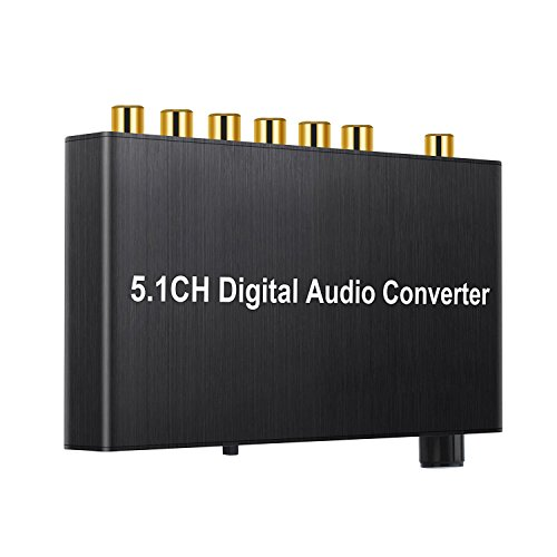 SODIAL 192kHz DAC Converter Digital Audio Decoder Coaxial/Toslink to 5.1CH/2.0CH Analog 3.5mm Jack Output with Volume Control knob Dolby AC3/DTS HDTV for Amplifier Soundbar by SODIAL