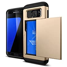 For Galaxy S6 Case,JOBSS Hybrid Anti-scratch Anti-drop Shock Absorption Card Pocket Wallet Card Slot Heavy Duty Protection Protective Shell Rubber Bumper Case for Samsung Galaxy S6 Gold