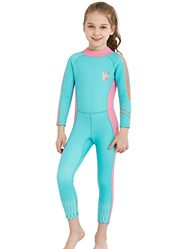 DIVE & SAIL 2.5mm Neoprene Pretty Design Sun Protection Girls Wetsuit for Swimming Keep Warm(Blue & Pink,S)