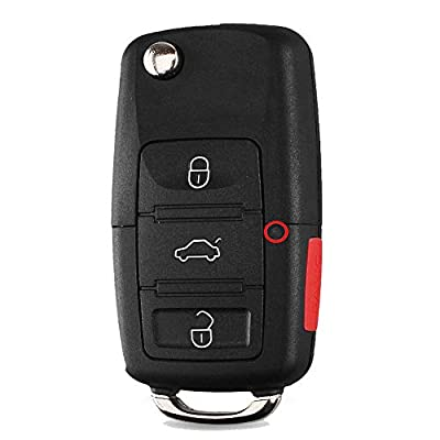 Heart Horse Keyless Remote Key Fob Case for VW Volkswagen Jetta Passat Golf Beetle Rabbit GTI CC EOS,with Blade, No Chips (Replace HLO1J0959753AM 1J0959753DC): Automotive