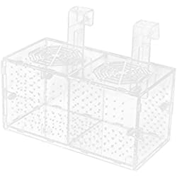 uxcell Plastic Aquarium Double-Deck Fish Hatchery Floating Isolation Breeding Box Clear