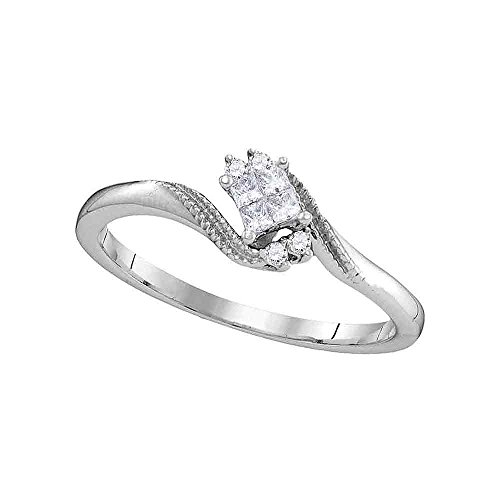 Sonia Jewels Size 7-10k White Gold Princess Cut Diamond Cluster Promise Bridal Ring (1/10 Cttw)