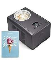 Máquina para hacer helados caseros EMMA, Ice cream maker, Heladera con compresor 1,5 l, recipiente extraíble y pantalla LCD + Libro de recetas