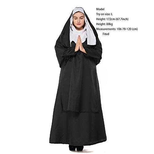 uniquetj Nun Costume for Women Cosplay Costumes Dress Outfit Robe and Plus Size Outfit (XL, Large)