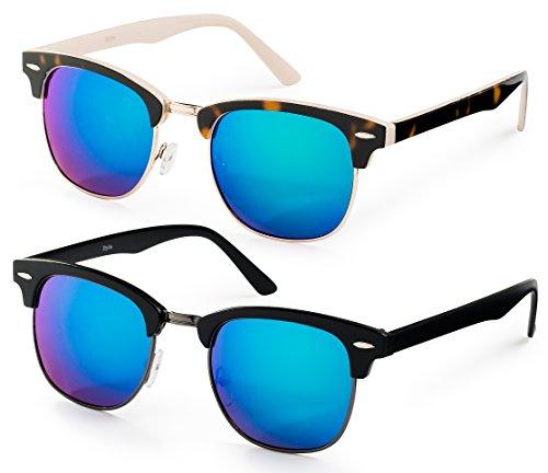 Pack of 2 - Havana Cream Gold Frame/ Green Flash Mirror Lens + Black Gunmetal Frame/ Green Flash Lens - Clubmaster Sunglasses