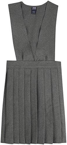 French Toast School Uniform Girls V-Neck Pleated Jumper, Gray, 14