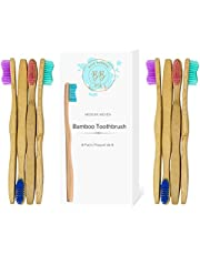 Bamboo Toothbrush for Adults and Teenagers   8 Pack Biodegradable Tooth Brush Set   Organic Eco-Friendly Moso Bamboo with Ergonomic Handles and Medium Nylon Bristles   By BLUE BAMBOO
