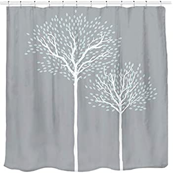 84b566e468c0c Sunlit Design Abstract Tree Printed Water Repellent Fabric Shower Curtain  Tapestry Gray