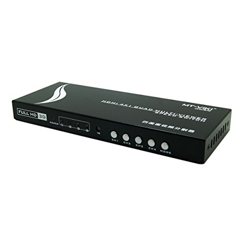 E-SDS HDMI 4x1 Quad Multiviewer 1080P 4 Port HDMI Switch with Remote and Quad Screen View Function