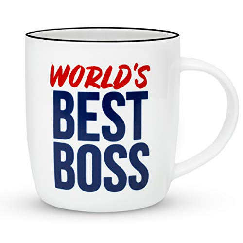 Gifffted The Worlds Best Boss Ever Coffee Mug, Bosses Day Gifts Ideas. Funny Present For My Greatest Boss Male or Female, Men, Women, Great Office Gift Mugs, Birthday, Leaving, Bold, Cup, 13 Oz (World's Best Boss Gifts)