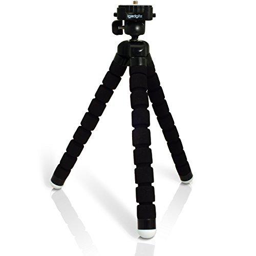 igadgitz Leichtgewichts Large Universal Ultraflexibel Schaum Dreibeinstativ Mini-Stativ für SLR DSLR Kameras mit Schnellwechselplatte - Schwarz