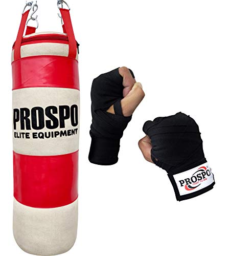 Prospo Super Pack Boxing Kit  Water Proof Canvas Punching Bag 36Inch With Hand Wrap Heavy Bag