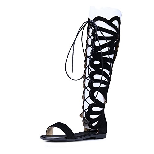 VogueZone009 Women's No Heel Frosted Solid Lace up Open Toe Sandals Black X0hYa2Vfx