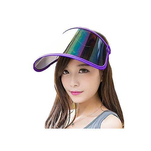 Guerbrilla Plastic Sun Visor UV Protection Hat (Shiny Transparent Plastic)- Adjustable Angle, One Size Fits Most (purple) (Transparent Plastic Hat)