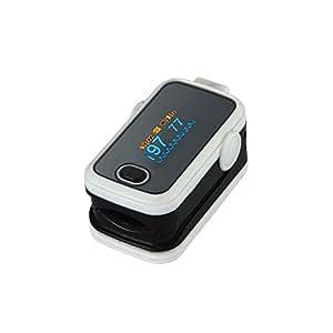 Oxímetro de pulso de dedo blanco. Dispositivo médico de diagnóstico y monitoreo del estado de salud para medir la tasa de