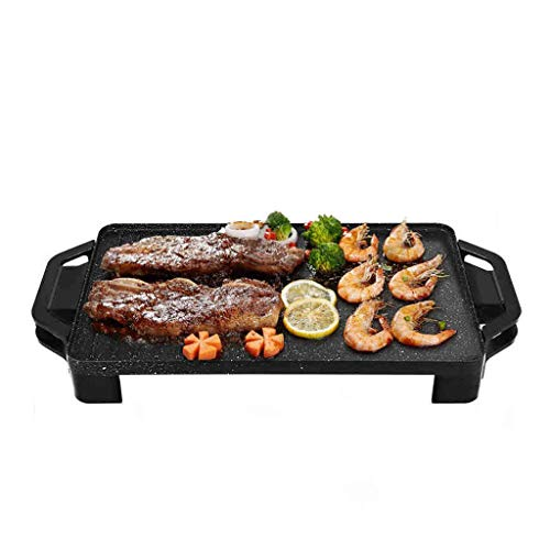 Electric Teppanyaki Grill Table Hot BBQ Plate for Kitchen Dinner Party Camping Festival Cooking,Electric BBQ Table Top Non-Stick Hot Plate