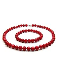 Bling Jewelry 925 Silver Dyed Red Coral Bead Necklace and Bracelet Set 9mm