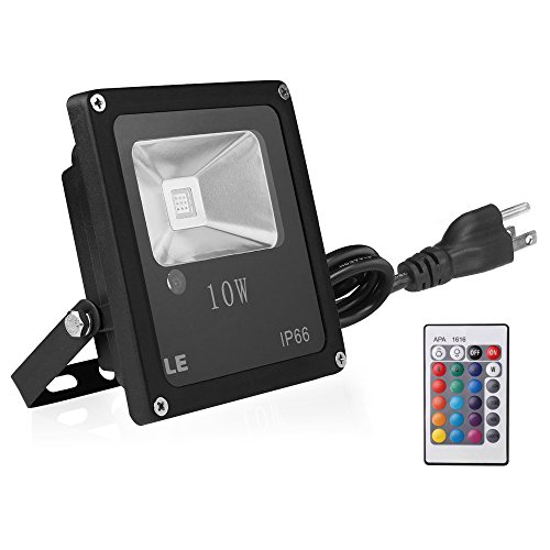 iLampens Remote Control 10W RGB LED Flood Light, Color Changing LED Security Light, 16 Colors & 4 Modes