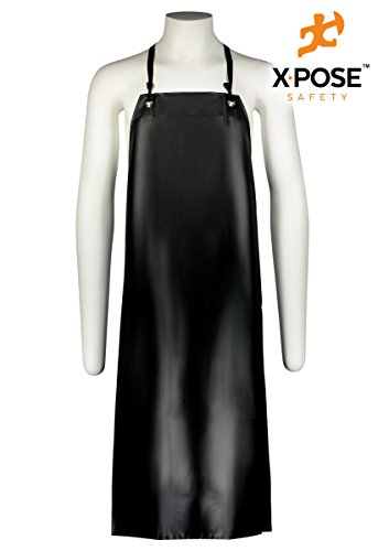 Pvc Coated Aprons (Heavy Duty Vinyl Apron - Industrial Grade Waterproof Material For Ultimate Protection, Lab Work, Meat and Food Service Facilities - by Xpose Safety)