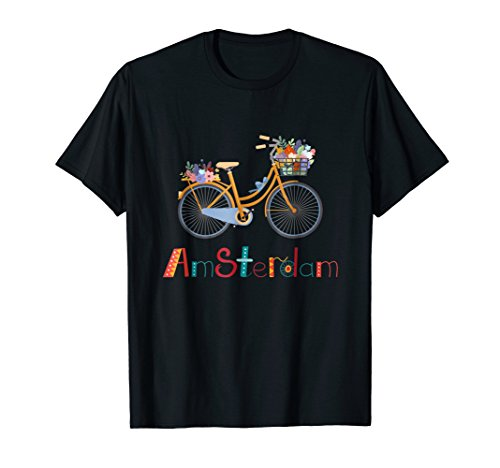 Amsterdam Bike T Shirt Bicycle City Retro Cycling Gift Tee