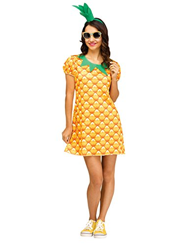 Fun World Women's Pineapple Flirty Fruit, Yellow, M/L Size 10-14 -