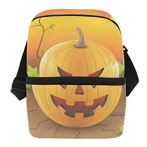 (Lunch Bag Hallowen Pumpkin Portable Cooler Bag Adult Leakproof Food Box Zipper Tote Bags for)