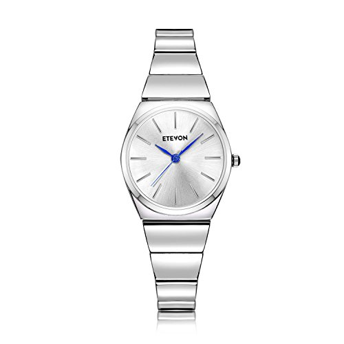 ETEVON Women's Quartz Analog Slim and Light Wrist Watch with Silver Bracelet Waterproof Stainless Steel, Fashion Business Simple Watches for - Steel Watch Quartz Stainless Bracelet