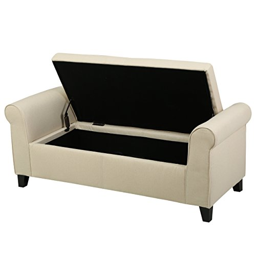 Great Deal Furniture Danbury 296872 Beige Fabric Armed Storage Ottoman (Fabric Bench)