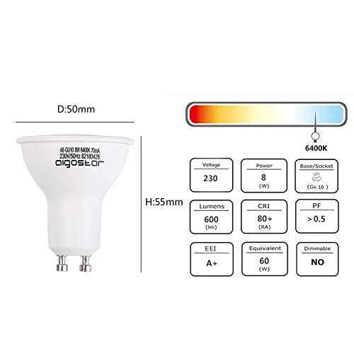 Aigostar -Bombilla LED 8W GU10, Luz blanca fría 6400K, 600lm, 8W Equivalente a 60Watt Lámpara Incandescente, Caja de 5 unidades [Clase de eficiencia ...