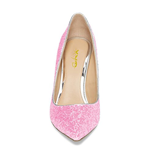 XYD Chic Glitter Slip On Pointy Toe Pumps Rhinestones High Heel Dress Shoes For Women Pink 100% guaranteed cheap online clearance hot sale online J6z8Kd8M