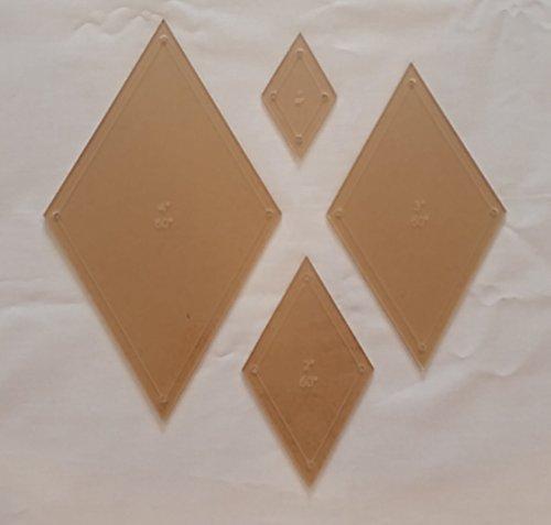 Diamond Quilting Acrylic Templates 4'', 3'', 2'', 1'' 60 Degree 1/4'' Seam Allowance, 1/8'' Acrylic by LaserThing