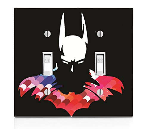 Trendy Accessories Bat Man Hero Silhouette Image Design Print Pattern Double Light Switch Plate Cover