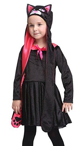 [Girlscos Girl's Catwoman Costume 2 Piece Suit Kids Halloween Cosplay Costumes Medium Black] (Toddler Cat Costume Ideas)
