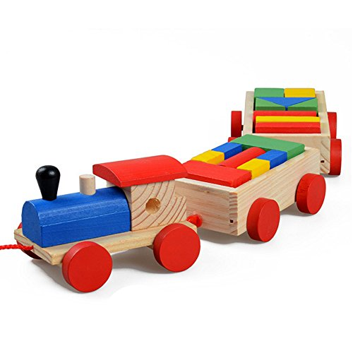 Sealive Wooden Train Toys Set For Kids Toddlers,Puzzle Classic Cars Wood Farm Train Tracks Linking Toys Childs Farm Play Sets Wooden Blocks Educational Toys Geometry Block Preschool Motor Skills Games by Sealive