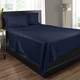 Bed Sheets, 100% Egyptian Cotton, 400 Thread Count - King - Navy Blue - 4 Piece Bed Sheet Set, Expertly Woven To Produce Lustrous Satin Finish, Deep Pocket, Machine Washable, By Clara Clark